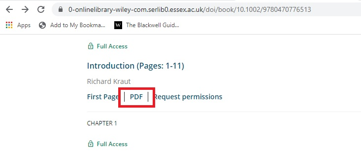 Screenshot showing PDF option for downloading chapters on Wiley-Blackwell