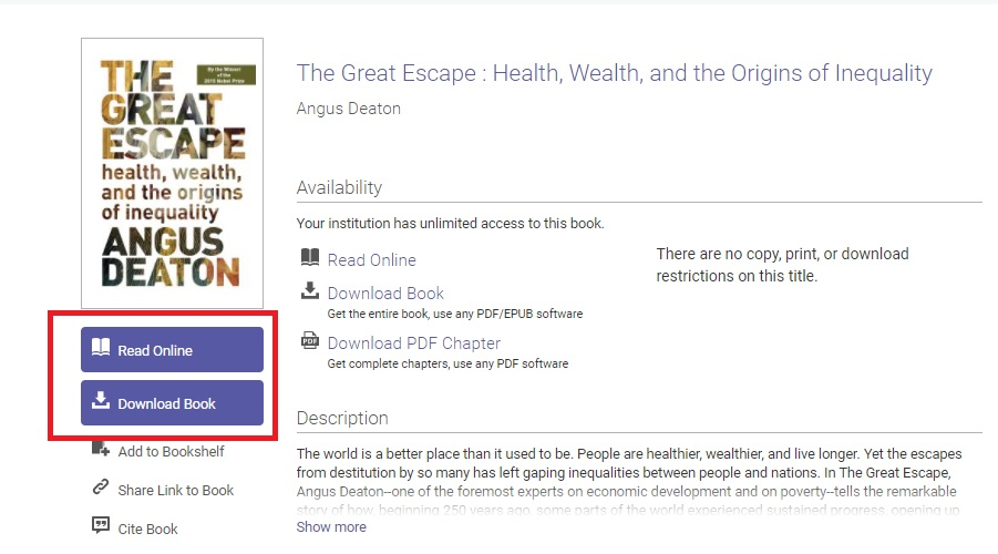 Screenshot showing PDF download and read online options on Ebook Central
