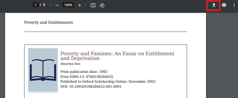 Screenshot showing PDF download button
