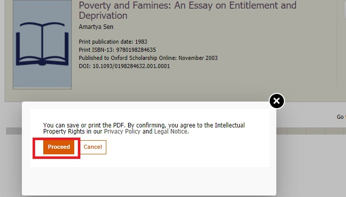 Screenshot showing pop up for privacy policy on Oxford Scholarship Online