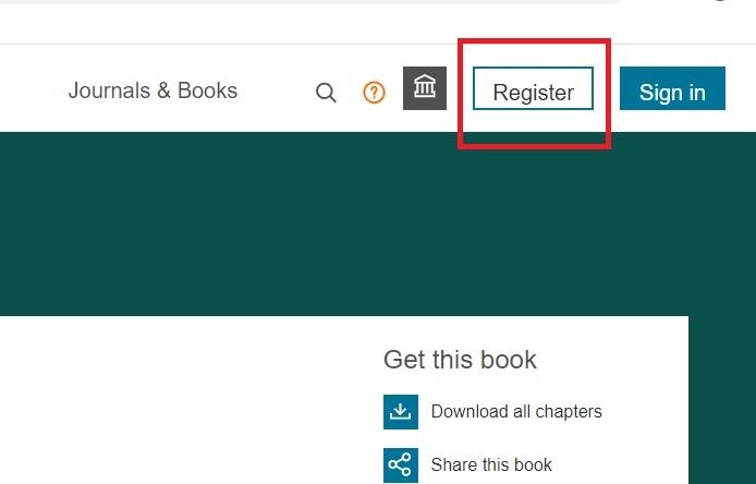 Screenshot showing Register button for Elsevier Science Direct