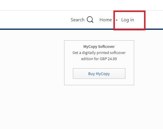 Screenshot showing log in button on Springerlink