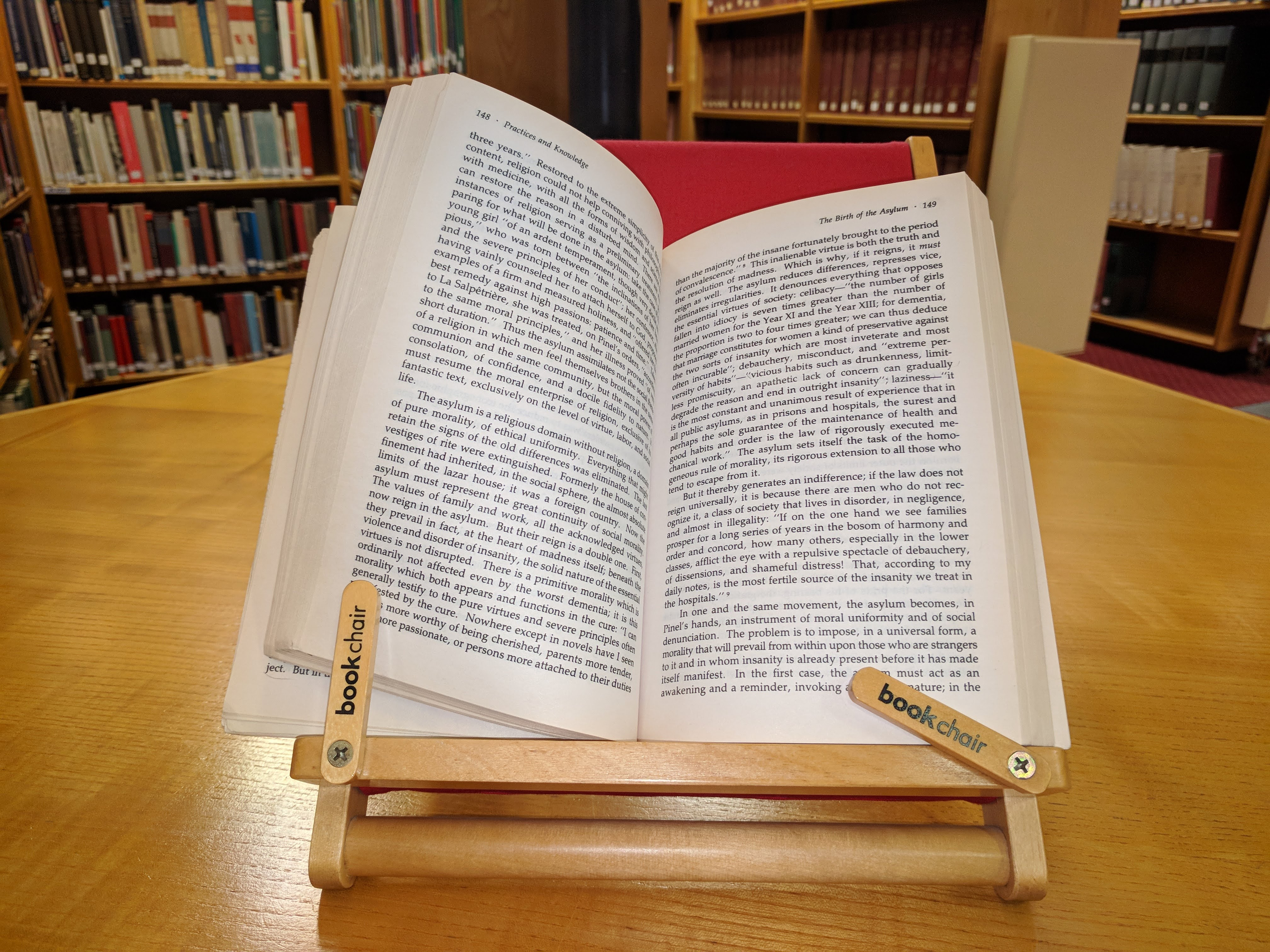 A photograph of a book stand in the Library.