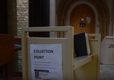 a photo of a collection point for reserved books in the Old Main Building
