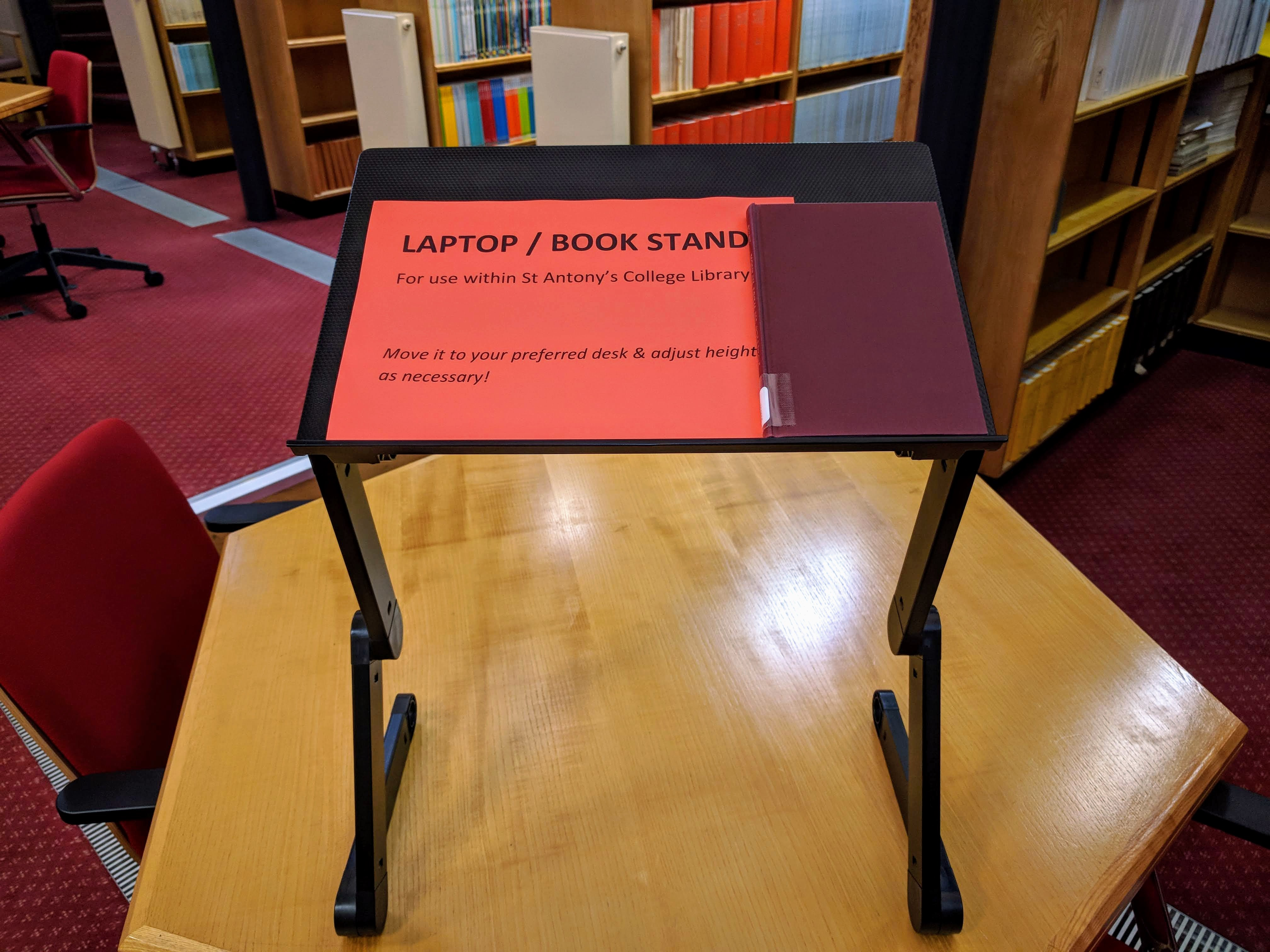 A photograph of one of the Library's two laptop stands.