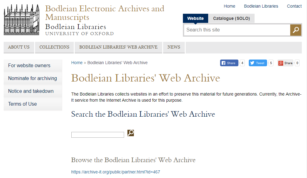 Bodleian Libraries Web Archive
