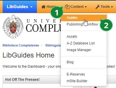 Menú de acceso a la página de gestión de guías