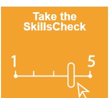 Take the Skills Check on an orange background with a sliding scale