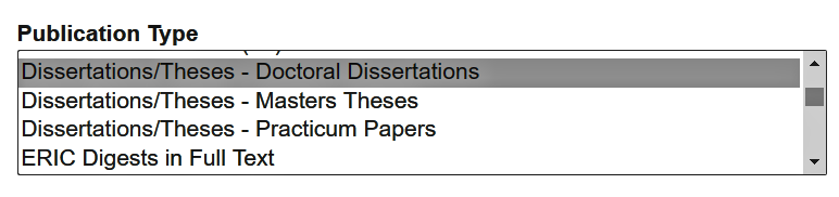 Displays the choice of publication type in a database where the option Dissertations/Theses - Doctoral Dissertations is selected.