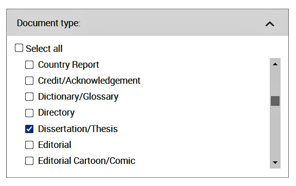 Displays the choice of document type in a database where the option Dissertation/Thesis is selected.