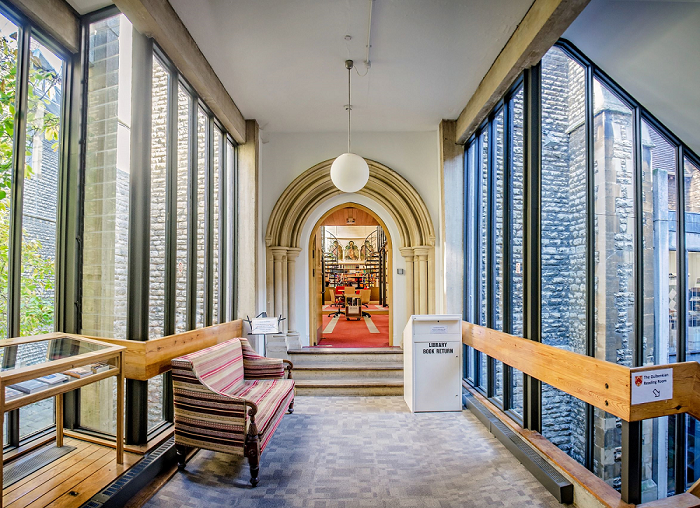 A photograph of the Library entrance area.