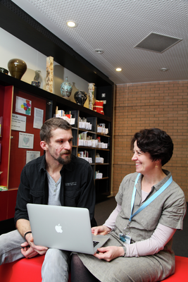 a student and a librarian having a one-to-one appointment in Harrow library
