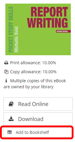 a book on VLe with the 'add to bookshelf' button beneath highlighted