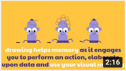 Three cartoon figures above text of video intro.