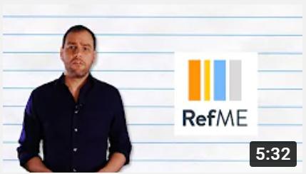 "Adult man beside the ""RefME"" logo."
