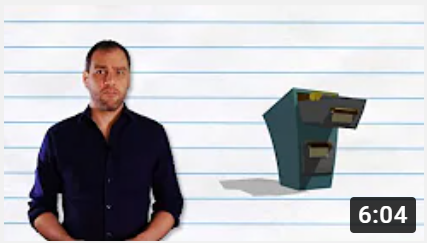 Adult man beside image of a filing cabinet.