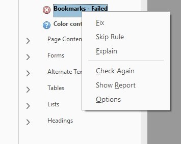 Screenshot of a PDF document accessibility report with the 'bookmarks' component of the check having failed.