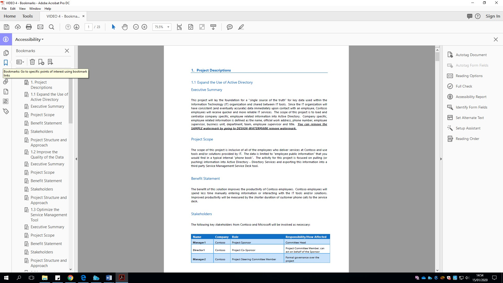 Screenshot displaying the bookmarks in a PDF document from the left hand accessibility pane.