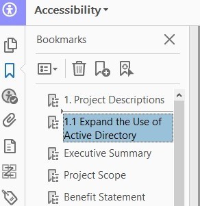Screenshot demonstrating how to 'nest' a bookmark within a PDF document in the left hand accessibility pane.