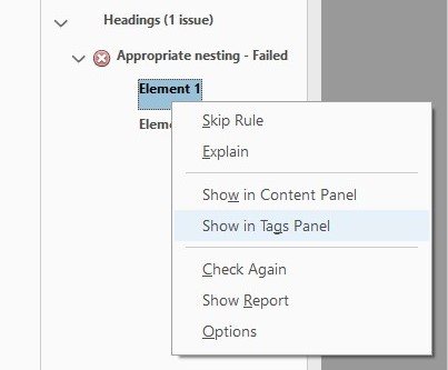 Screenshot from a PDF showing the left hand accessibility pane and how to navigate to the 'show in tags panel' option.