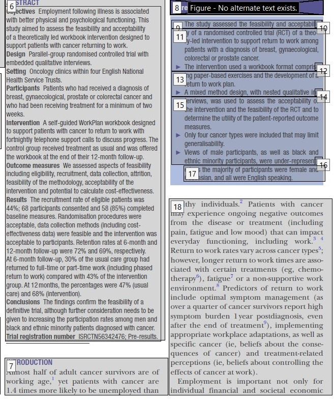 Screenshot of a journal article as a PDF document showing a close up of read order boxes.