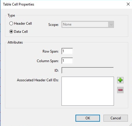 Screenshot of table cell properties box.