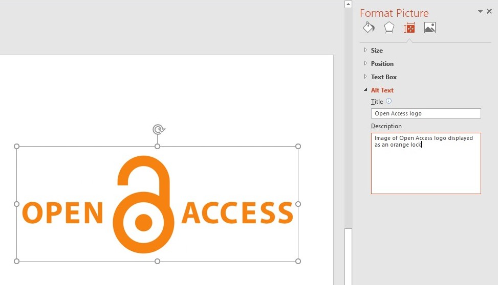 Screenshot demonstrating how to add ALT text to an image within a PowerPoint document. An image of the Open Access logo is used to demonstrate this.