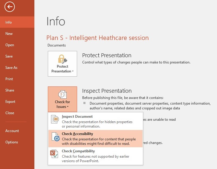Screenshot demonstrating how to locate and select the accessibility tool within a PowerPoint document