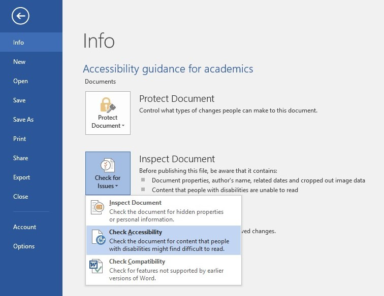 Screenshot showing how to select the accessibility check functionality in a Word document