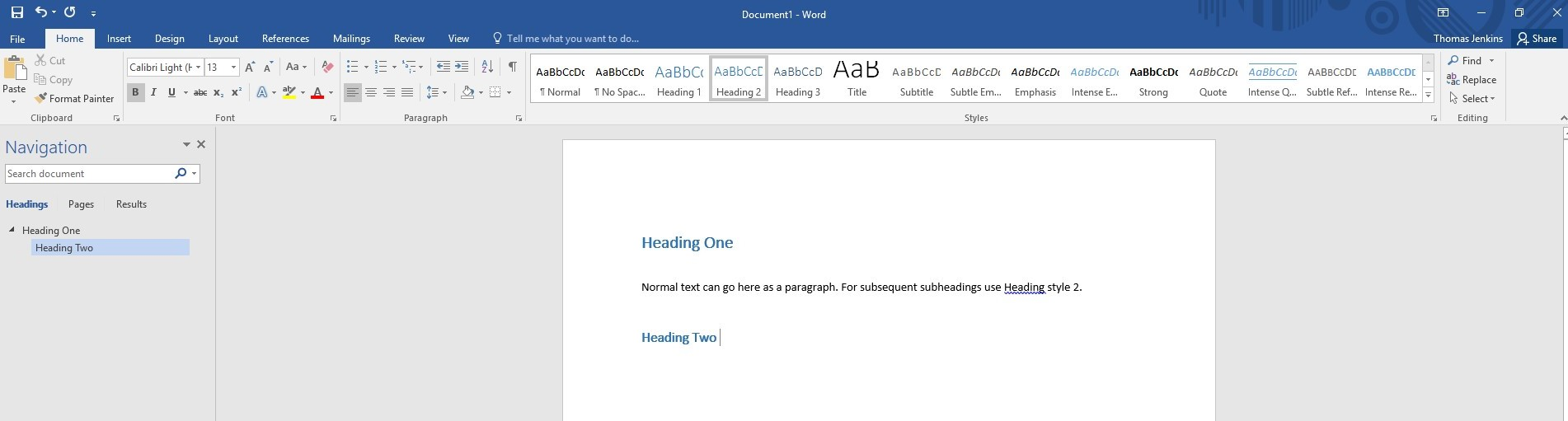 Screenshot demonstrating appearance of Headings in Word and where on the tool bar they can be selected from.