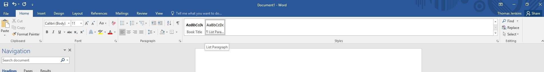 Screenshot showing where lists can be set up from in Word