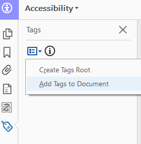 Screenshot from a PDF document displaying how to navigate to the 'add tags to document' option in an untagged PDF
