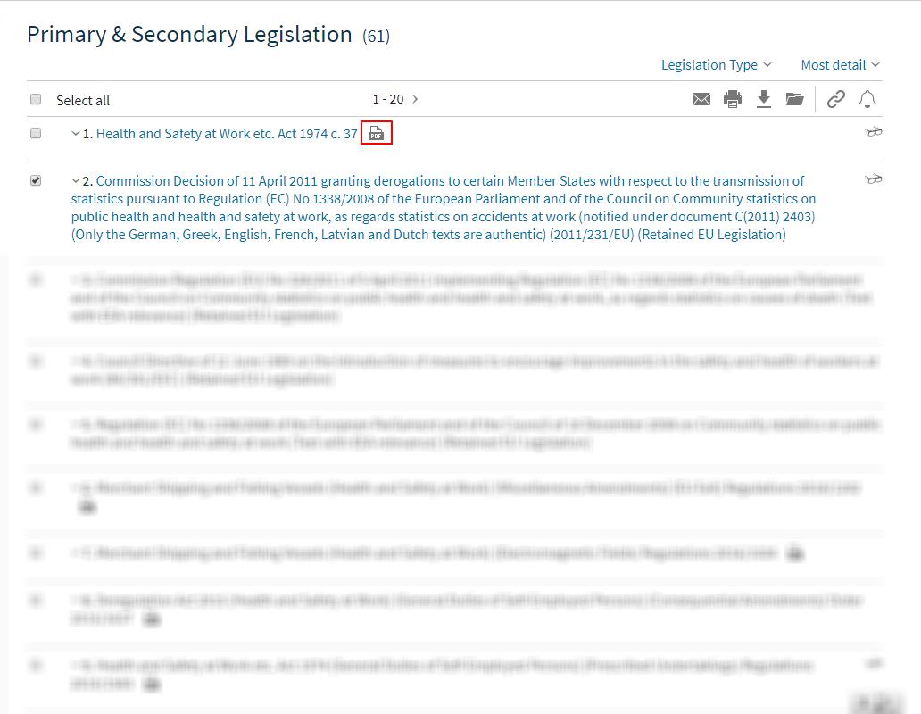 Viewing legislation