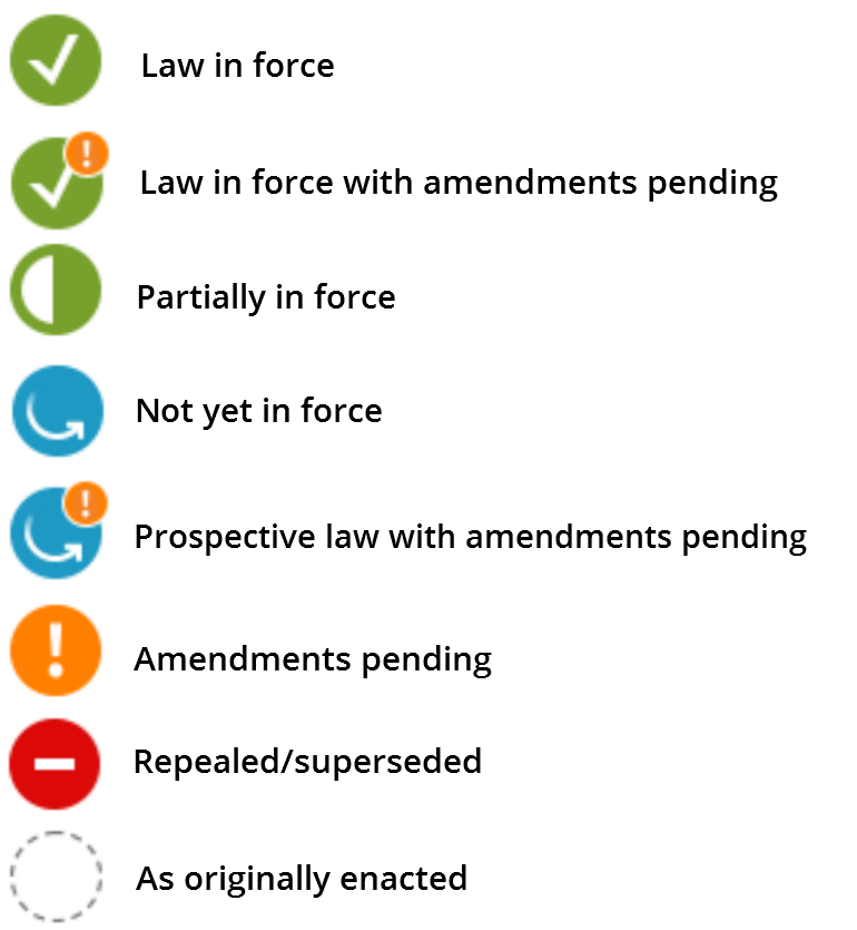 Status icons.  Red equals repealed/superseded, orange equals amendments pending, blue with an orange exclamation mark equals prospective law with amendments pending, blue equals not yet in force, half green half white equals partially in force, green with an orange exclamation mark equals law in force with amendments pending and green equals law in force