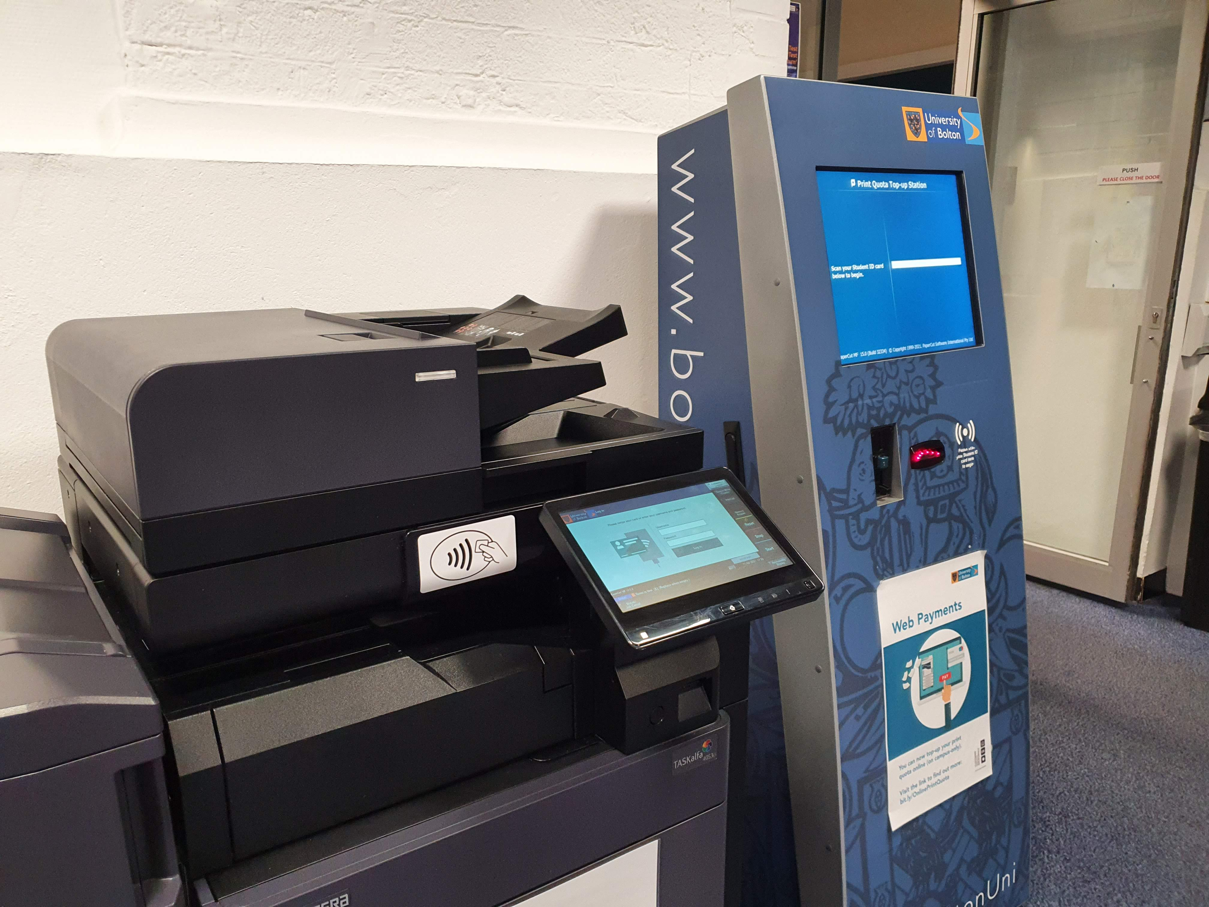 Printer and print credit machine in the Peter Marsh Library