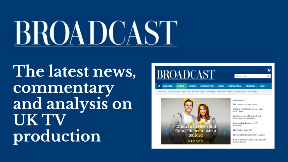 The Broadcast homepage, featuring latest news stories on UK TV