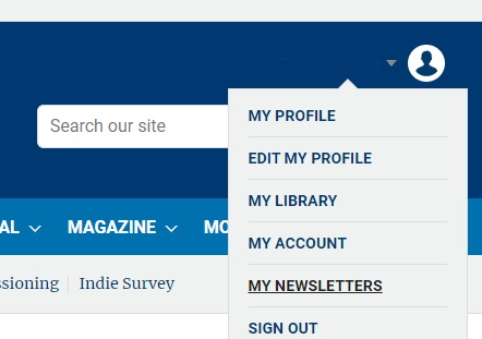 Screenshot of the Broadcast account menu, featuring the My Newsletters option