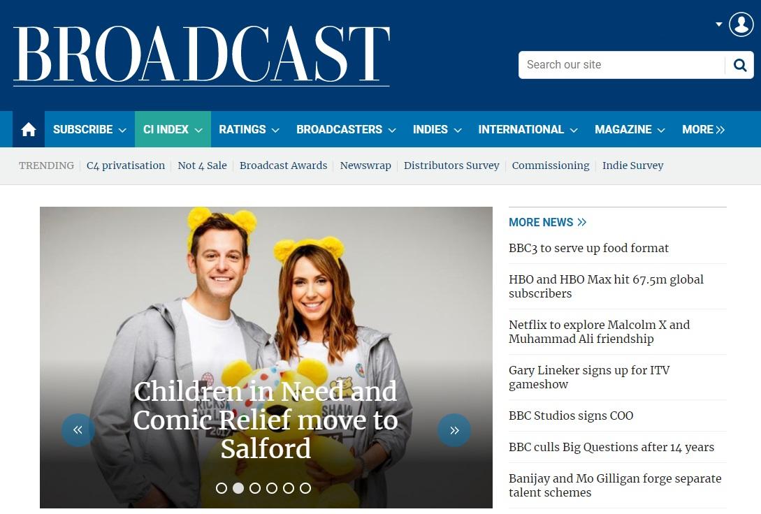 Screenshot of the Broadcast homepage