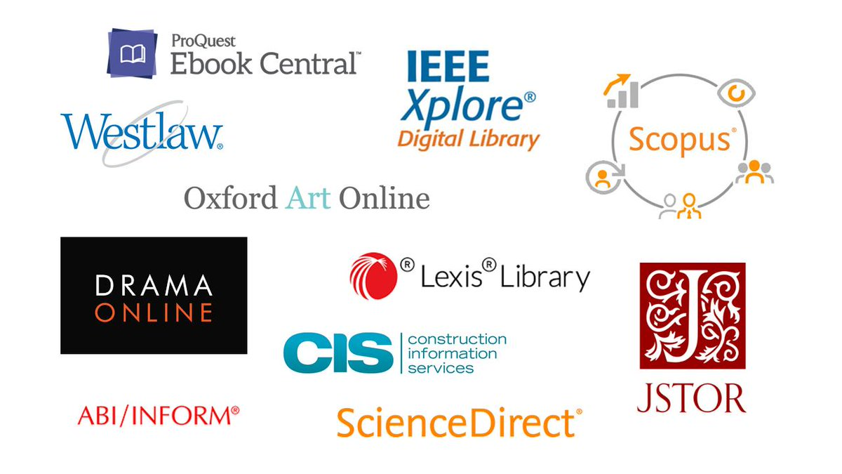 Database logos including ScienceDirect, IEEE, JSTOR and more