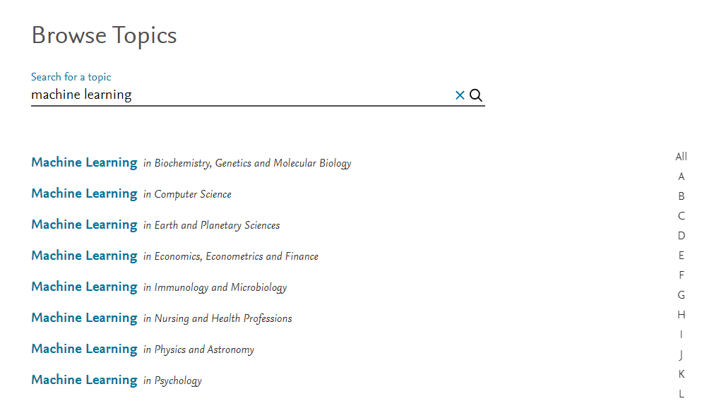 """Screenshot of the ScienceDirect Topics page, showing a list of results for """"Machine Learning"""""""