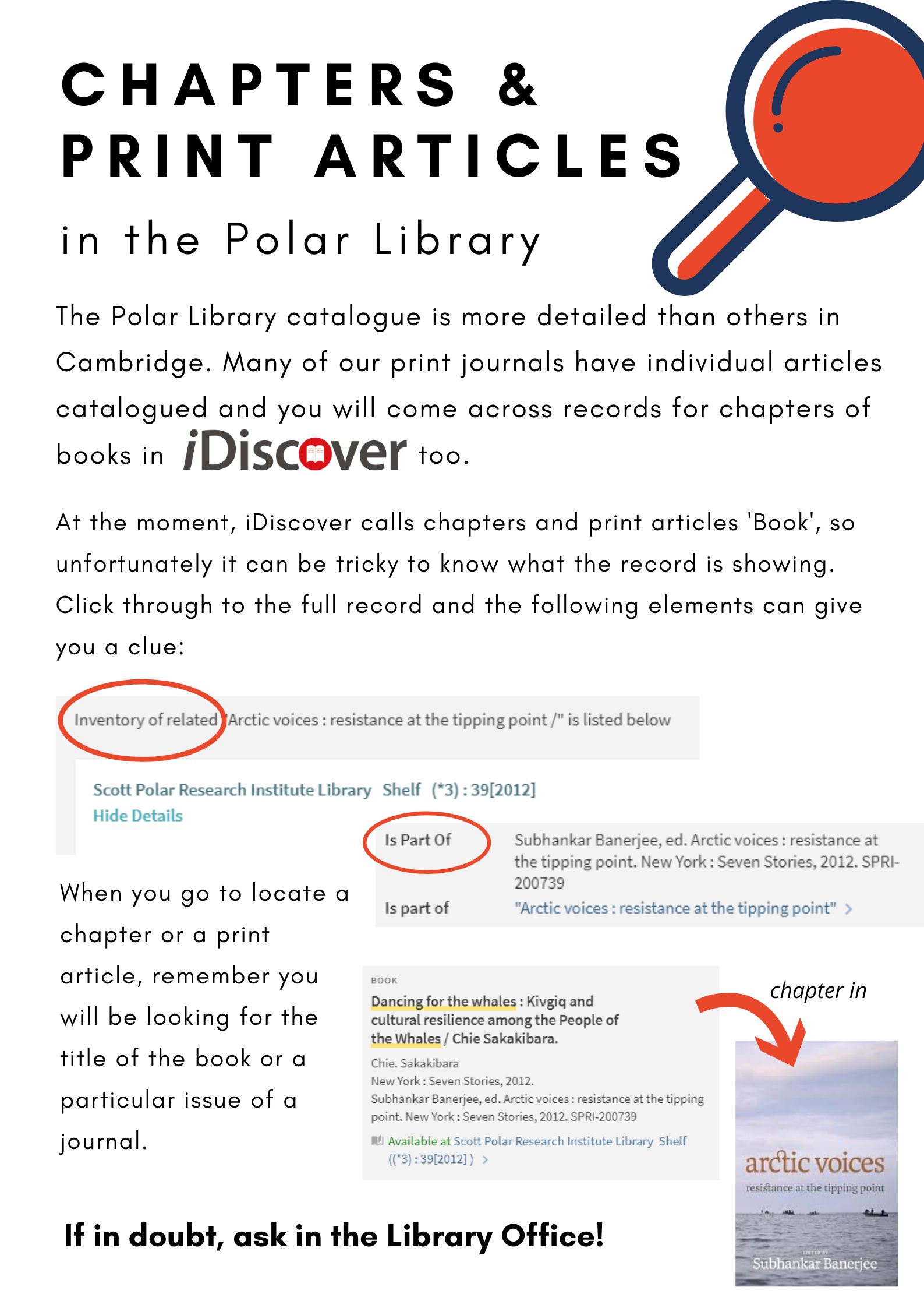 Poster on finding book chapters and print articles in the Polar Library