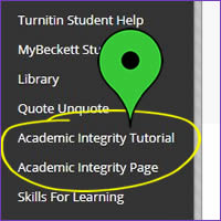 Academic Integrity tutorial start button