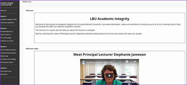 Academic Integrity turorial opening page