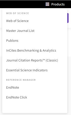 Product menu including Journal Citation Reports (Classic) as one of the opions.