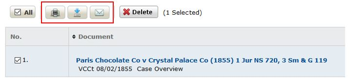 Screenshot showing My Documents folder with a case checked and the Print, Download and Email icons highlighted.