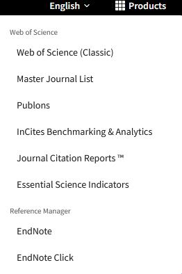 Product menu including Web of Science (Classic) as one of the opions.