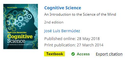 A record for Cognitive Science is labelled as a Textbook.