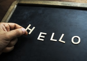 Letters on a slate spelling the word hello