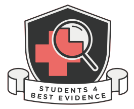 """A shield with a red cross and a magnifying glass. A scroll in front of it reads """"Students 4 Best Evidence""""."""