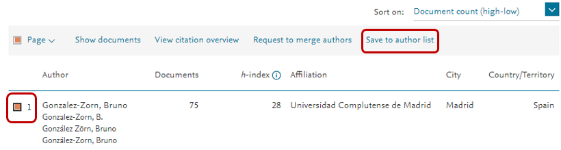 Guardar lista de autor en Scopus